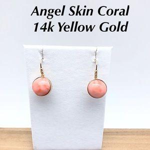 Angel Skin Coral 14k Gold Round Dangle Earrings
